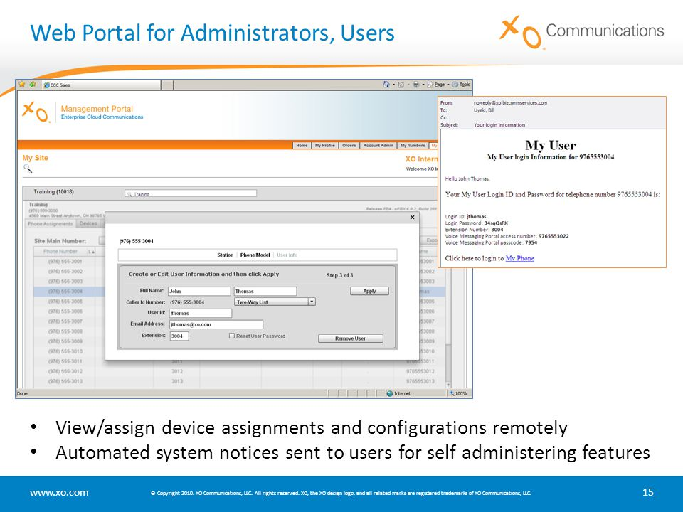 Web Portal for Administrators, Users