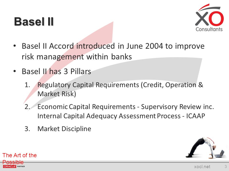 Basel II Basel II Accord introduced in June 2004 to improve risk management within banks. Basel II has 3 Pillars.