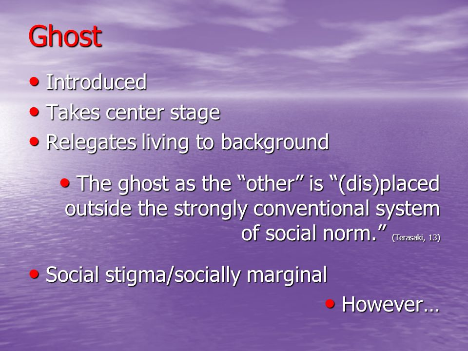 Ghost Introduced Takes center stage Relegates living to background