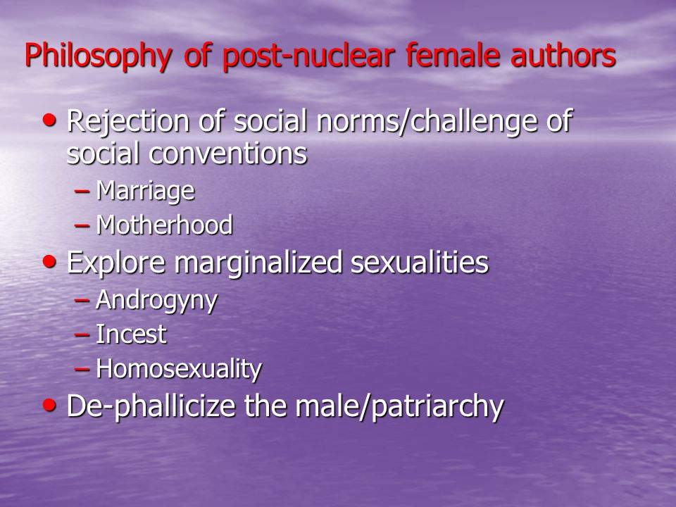 Philosophy of post-nuclear female authors