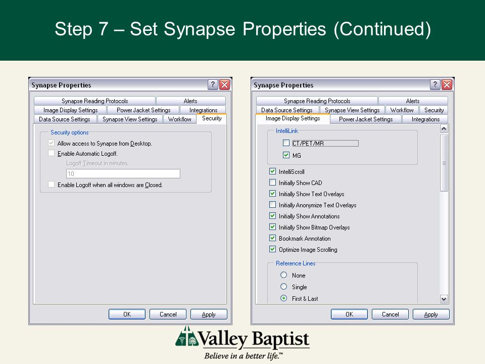 Step 7 – Set Synapse Properties (Continued)