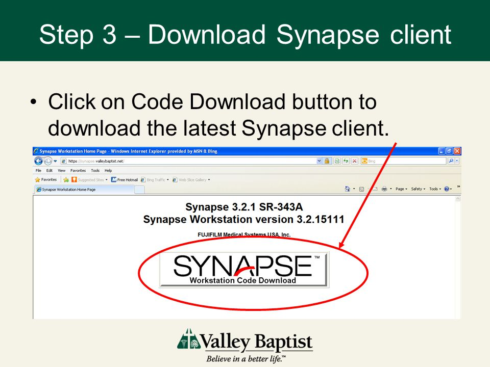 Step 3 – Download Synapse client