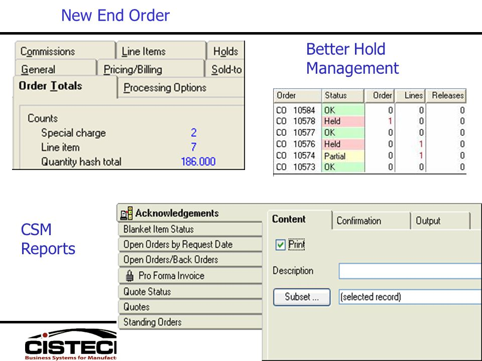 New End Order Better Hold Management CSM Reports