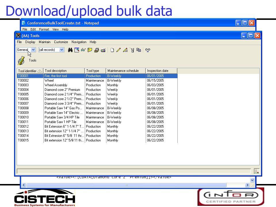 Download/upload bulk data