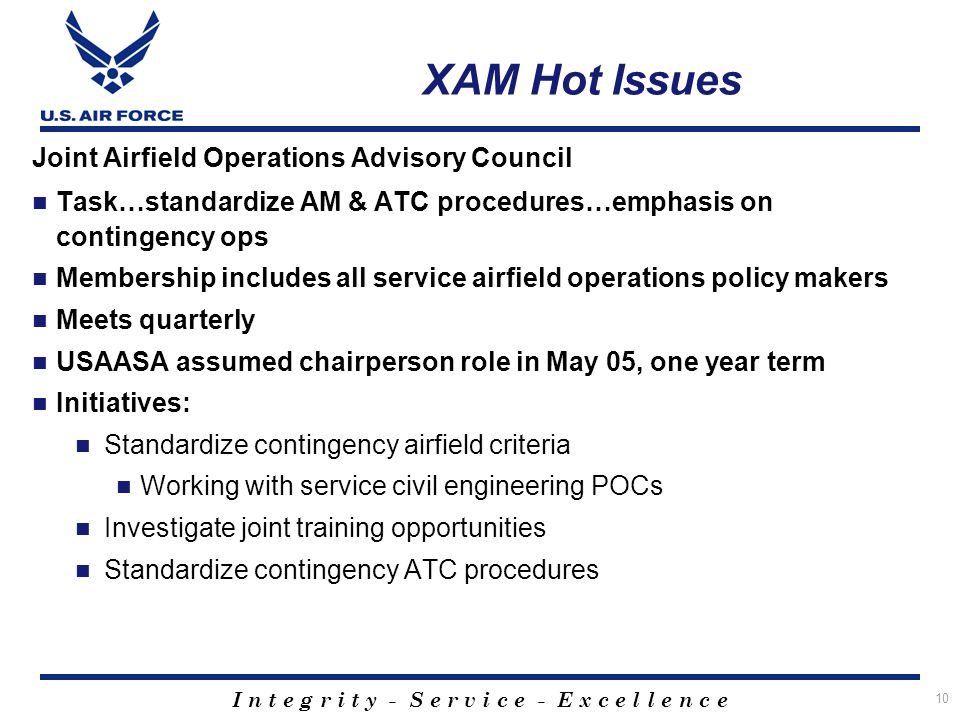 XAM Hot Issues Joint Airfield Operations Advisory Council