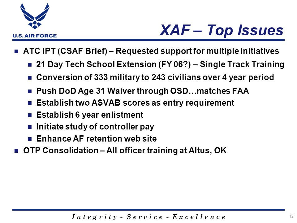 XAF – Top Issues ATC IPT (CSAF Brief) – Requested support for multiple initiatives. 21 Day Tech School Extension (FY 06 ) – Single Track Training.