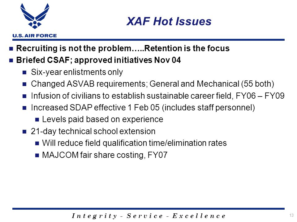 XAF Hot Issues Recruiting is not the problem…..Retention is the focus