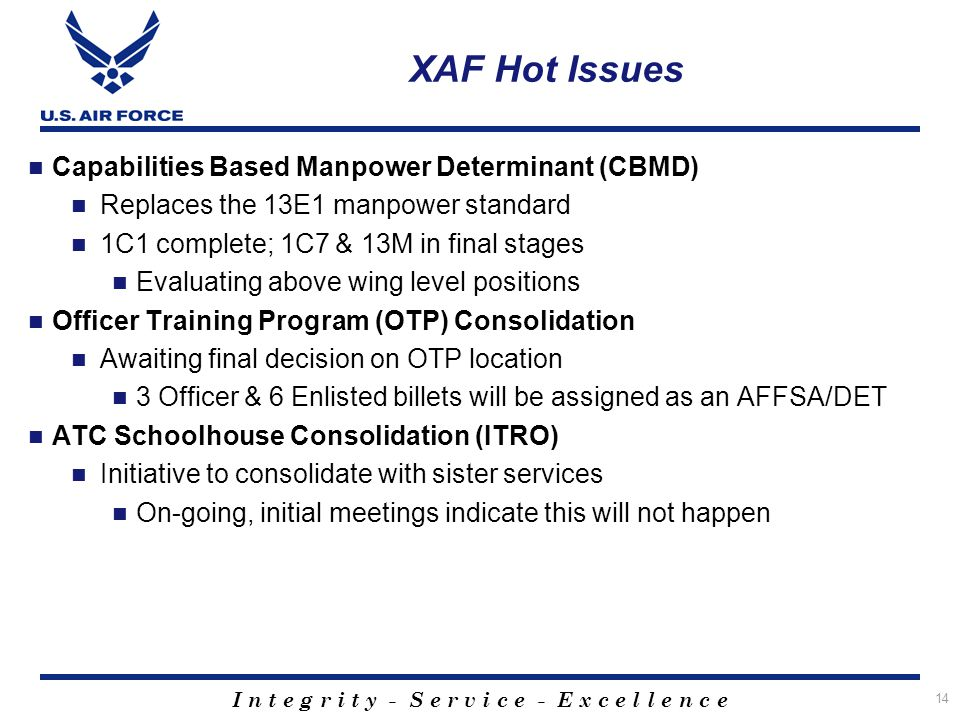 XAF Hot Issues Capabilities Based Manpower Determinant (CBMD)