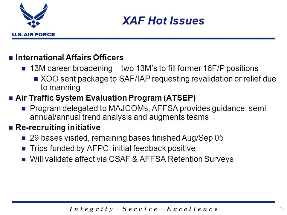 XAF Hot Issues International Affairs Officers