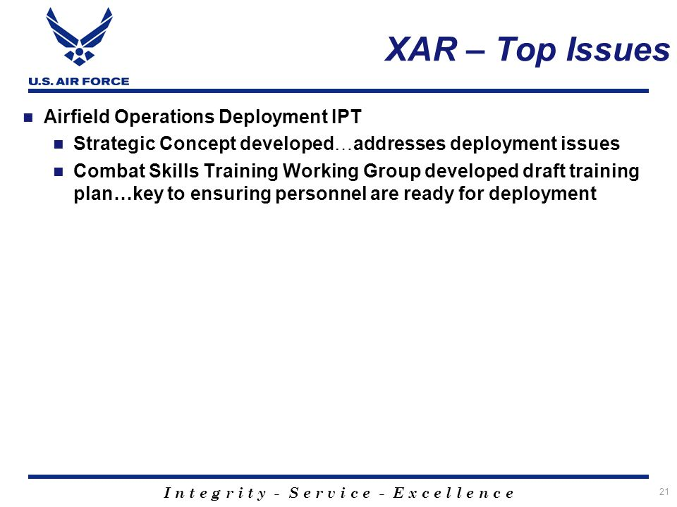 XAR – Top Issues Airfield Operations Deployment IPT