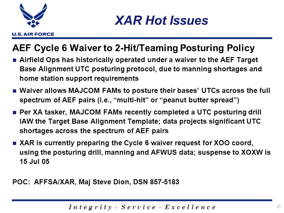 XAR Hot Issues AEF Cycle 6 Waiver to 2-Hit/Teaming Posturing Policy