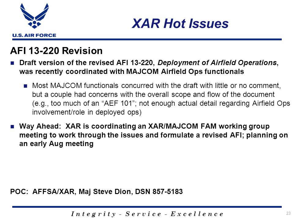 XAR Hot Issues AFI 13-220 Revision