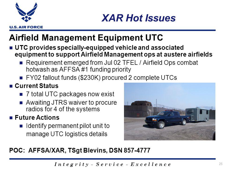 XAR Hot Issues Airfield Management Equipment UTC