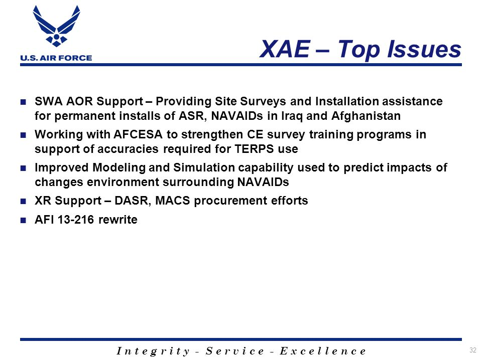 XAE – Top Issues SWA AOR Support – Providing Site Surveys and Installation assistance for permanent installs of ASR, NAVAIDs in Iraq and Afghanistan.