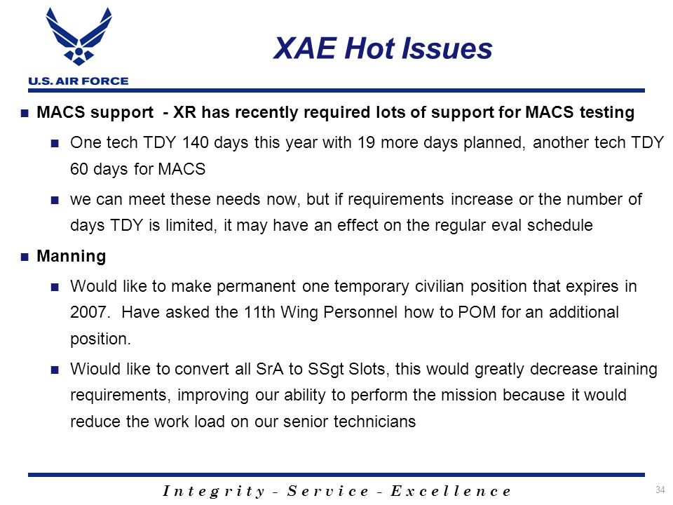 XAE Hot Issues MACS support - XR has recently required lots of support for MACS testing.