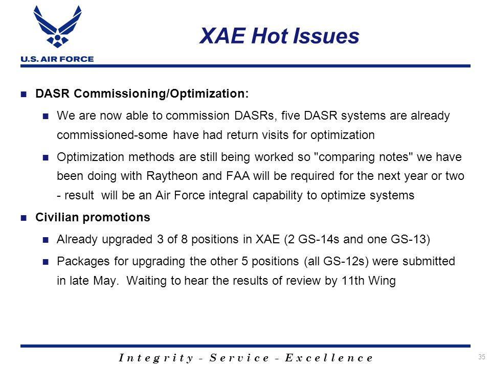 XAE Hot Issues DASR Commissioning/Optimization: