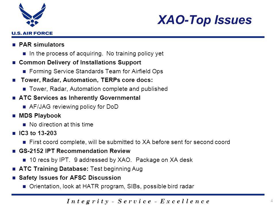 XAO-Top Issues PAR simulators