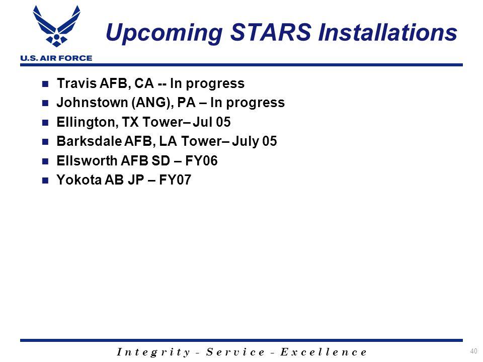 Upcoming STARS Installations