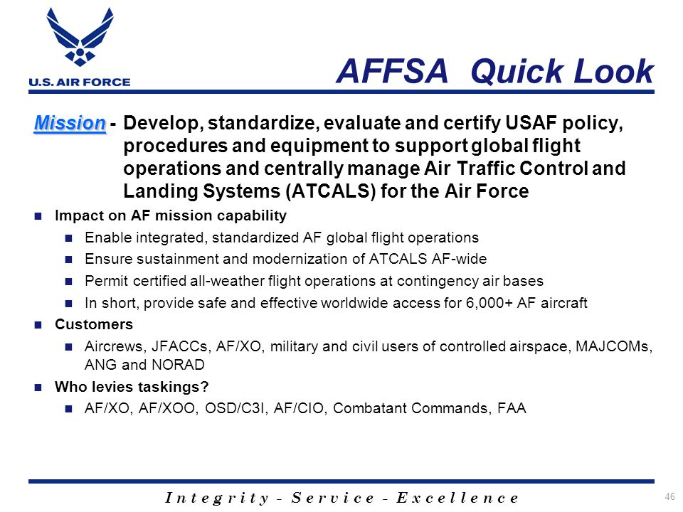 AFFSA Quick Look Mission - Develop, standardize, evaluate and certify USAF policy, procedures and equipment to support global flight.