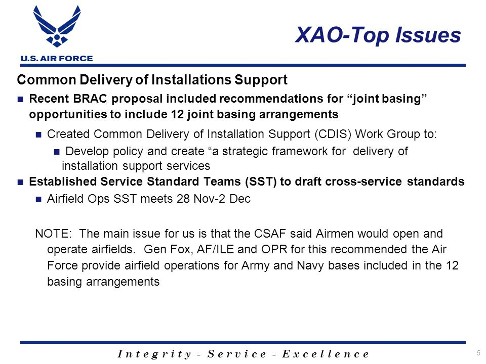 XAO-Top Issues Common Delivery of Installations Support