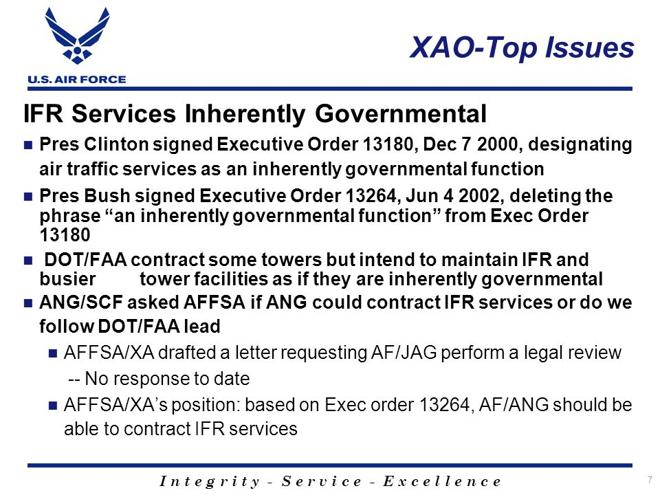 XAO-Top Issues IFR Services Inherently Governmental