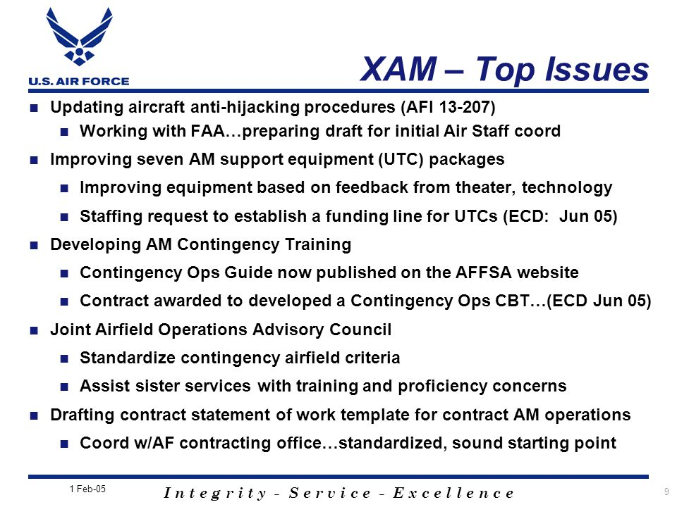 XAM – Top Issues Updating aircraft anti-hijacking procedures (AFI 13-207) Working with FAA…preparing draft for initial Air Staff coord.
