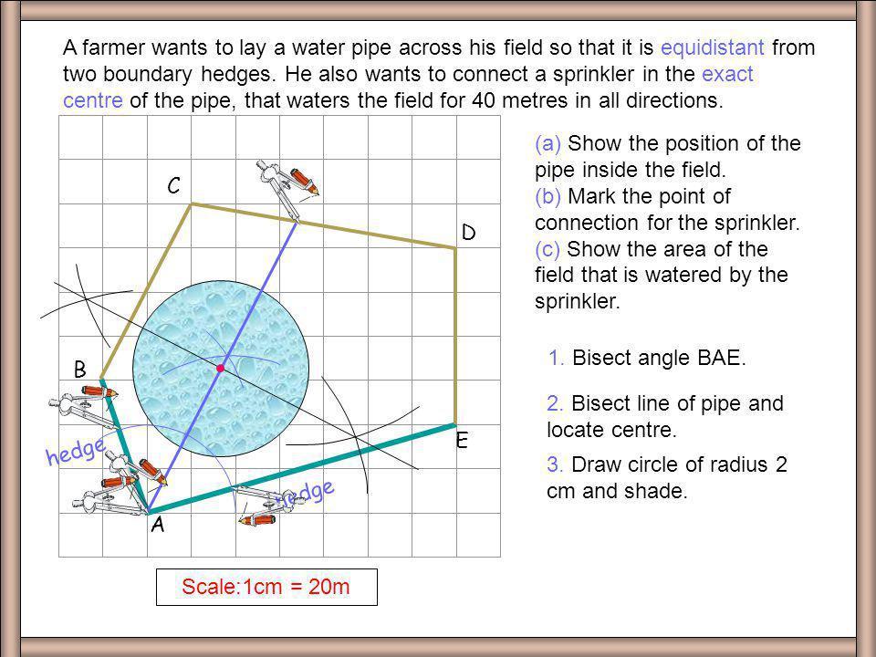 A B. C. D. E. Scale:1cm = 20m.