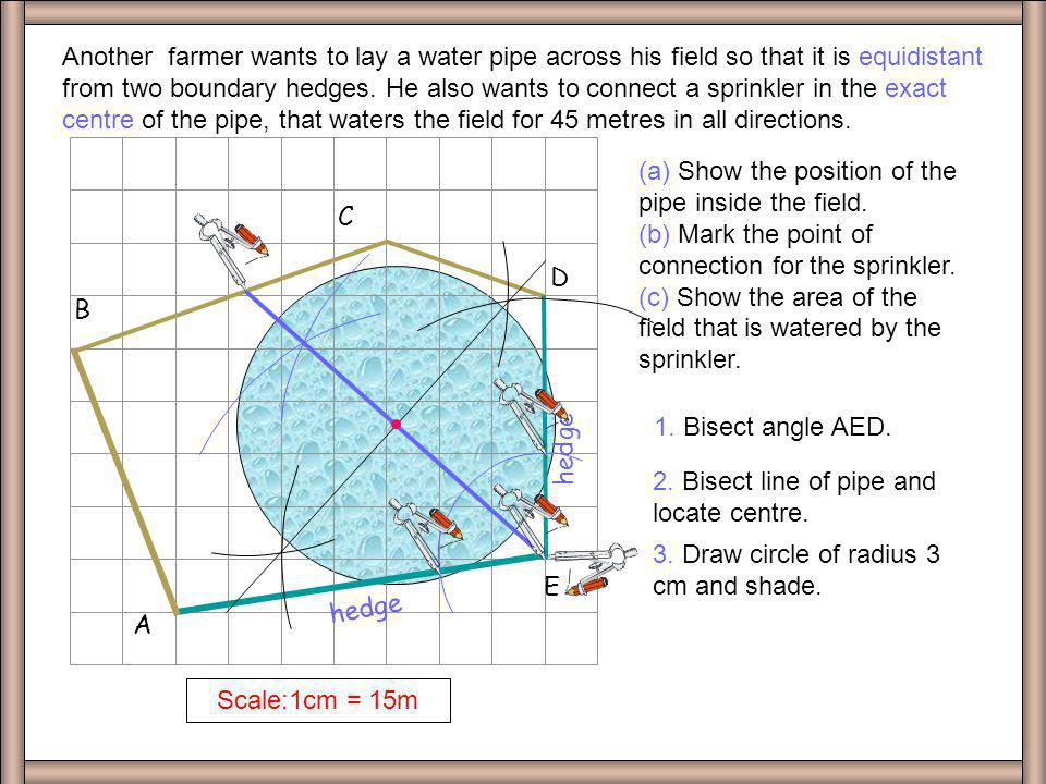 D A. B. C. E. Scale:1cm = 15m.