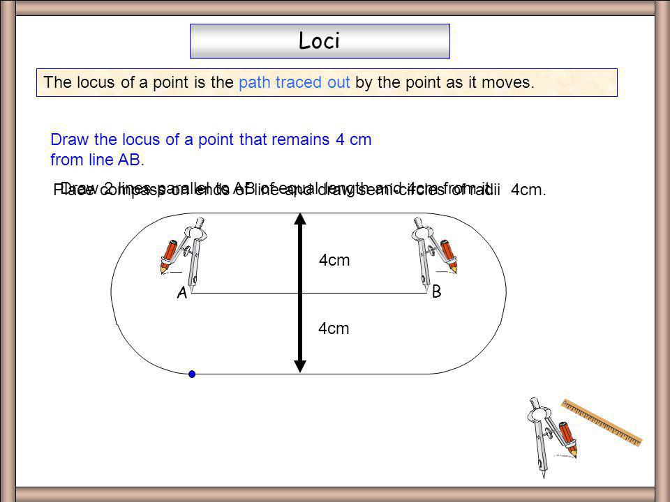 Loci The locus of a point is the path traced out by the point as it moves. A. B. Draw the locus of a point that remains 4 cm from line AB.