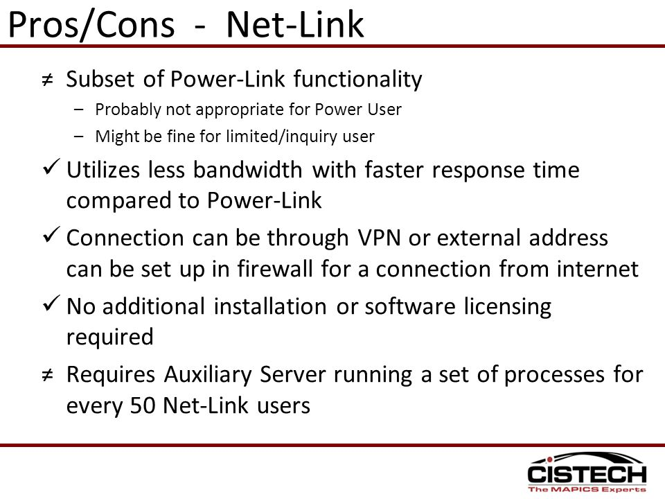 Pros/Cons - Net-Link Subset of Power-Link functionality