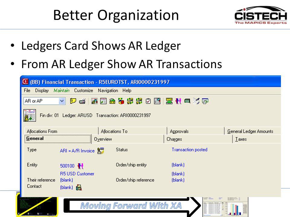Better Organization Ledgers Card Shows AR Ledger