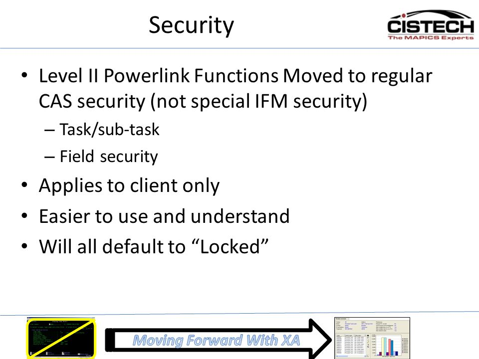 Security Level II Powerlink Functions Moved to regular CAS security (not special IFM security) Task/sub-task.