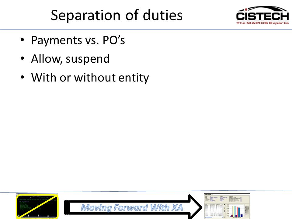 Separation of duties Payments vs. PO's Allow, suspend