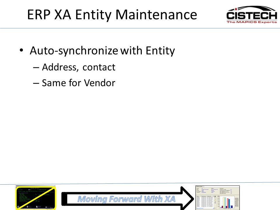 ERP XA Entity Maintenance