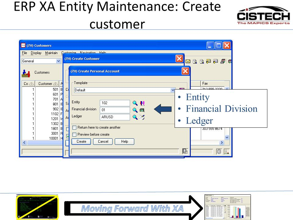 ERP XA Entity Maintenance: Create customer