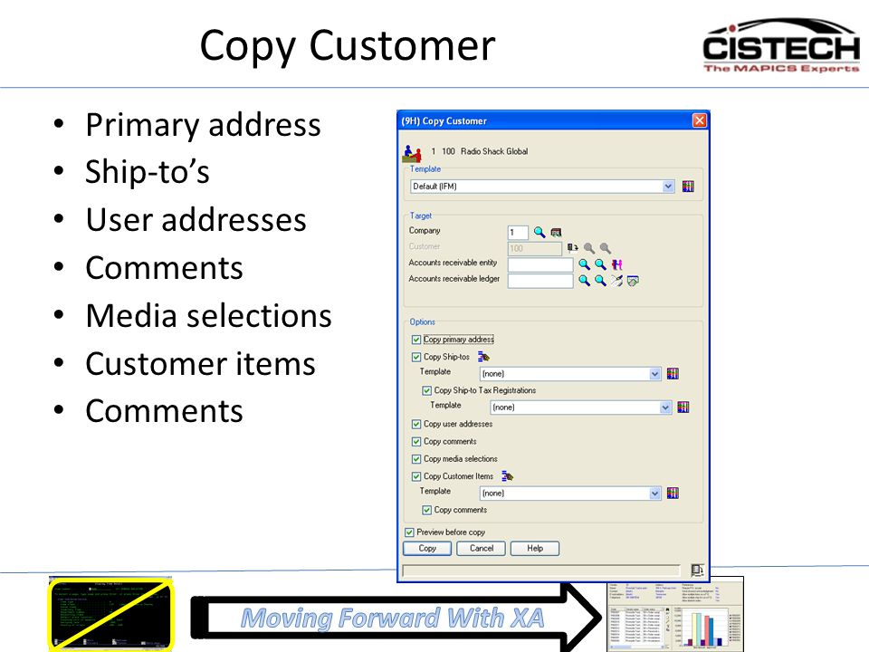 Copy Customer Primary address Ship-to's User addresses Comments