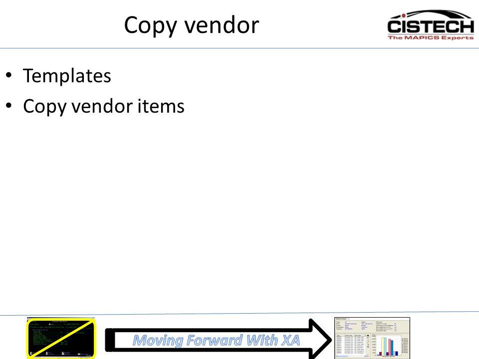 Copy vendor Templates Copy vendor items