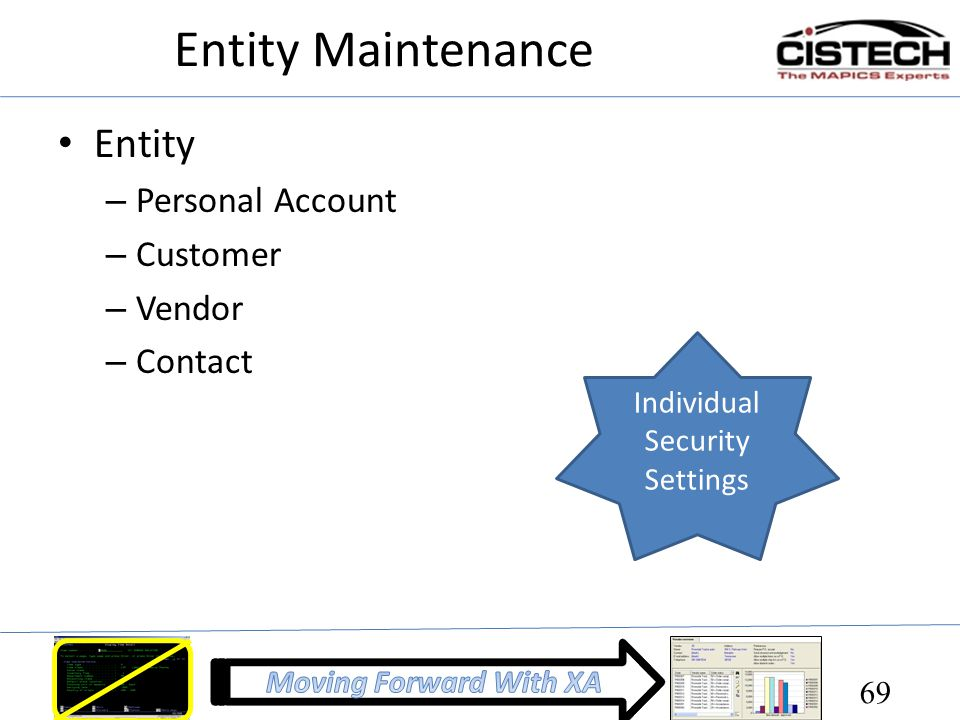 Entity Maintenance Entity Personal Account Customer Vendor Contact