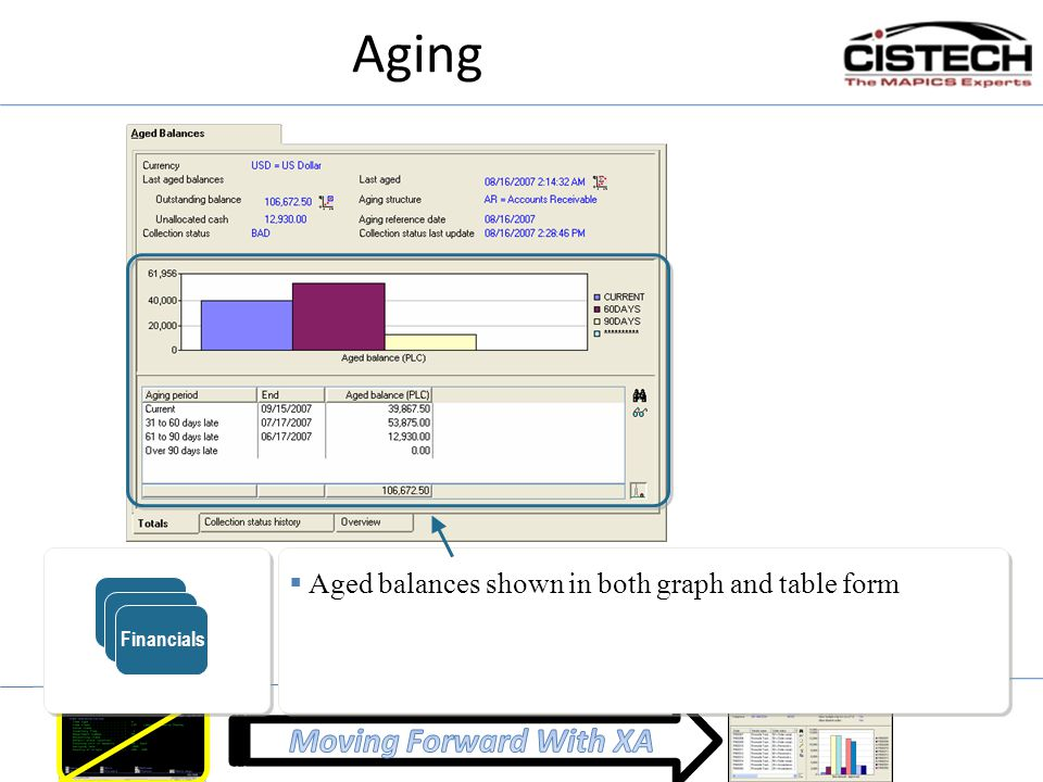 Aging ERP Financials Aged balances shown in both graph and table form