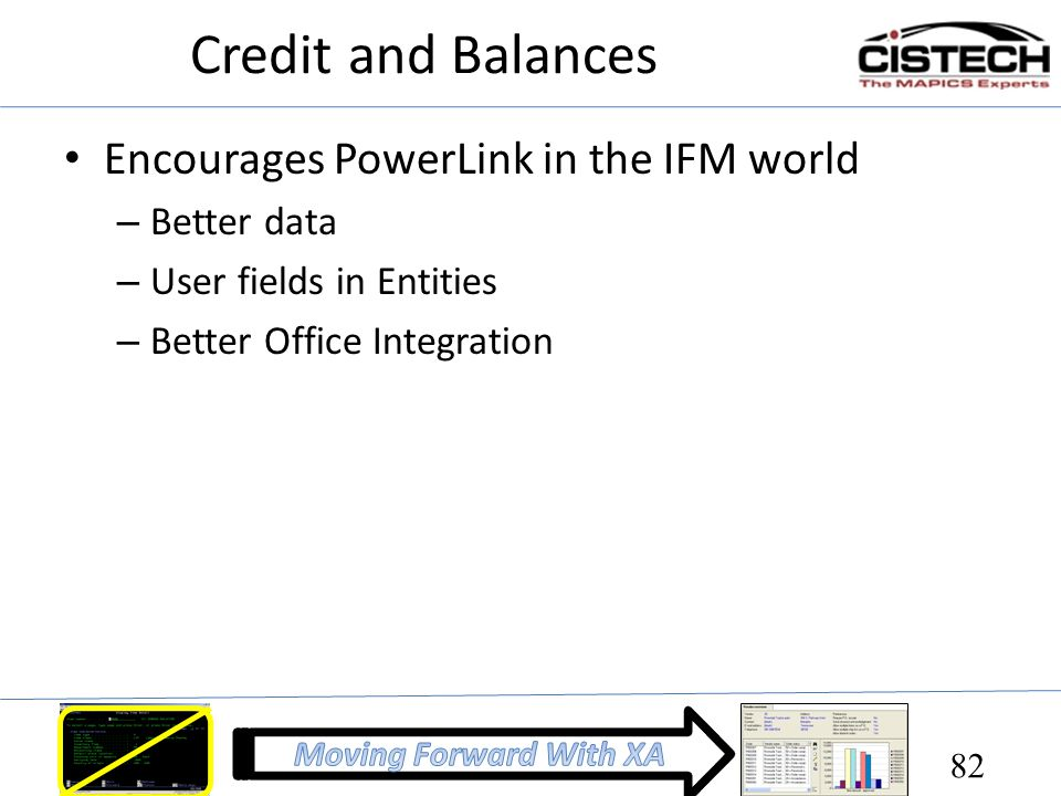Credit and Balances Encourages PowerLink in the IFM world Better data
