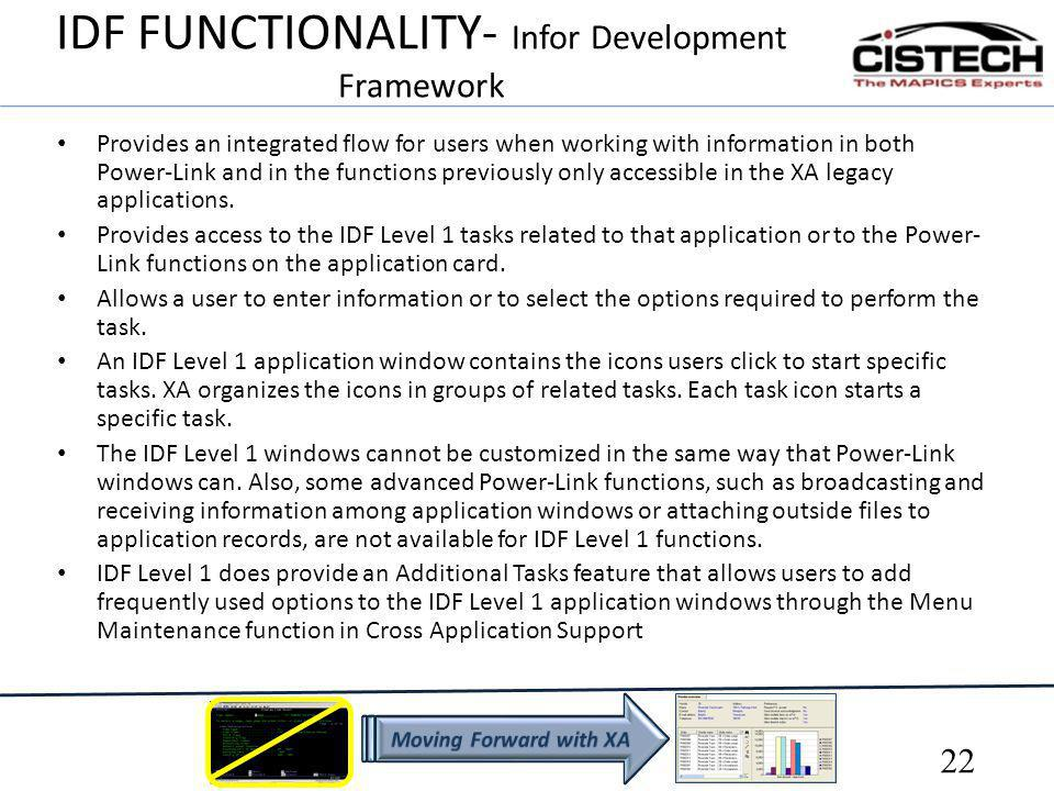 IDF FUNCTIONALITY- Infor Development Framework