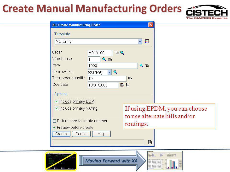 Create Manual Manufacturing Orders