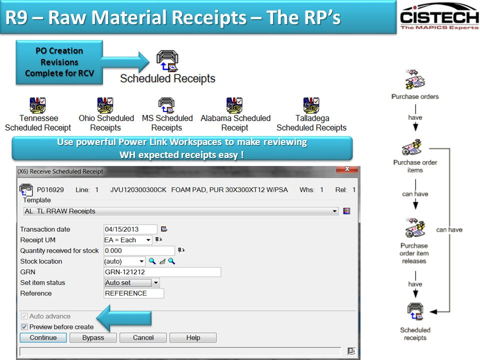 R9 – Raw Material Receipts – The RP's