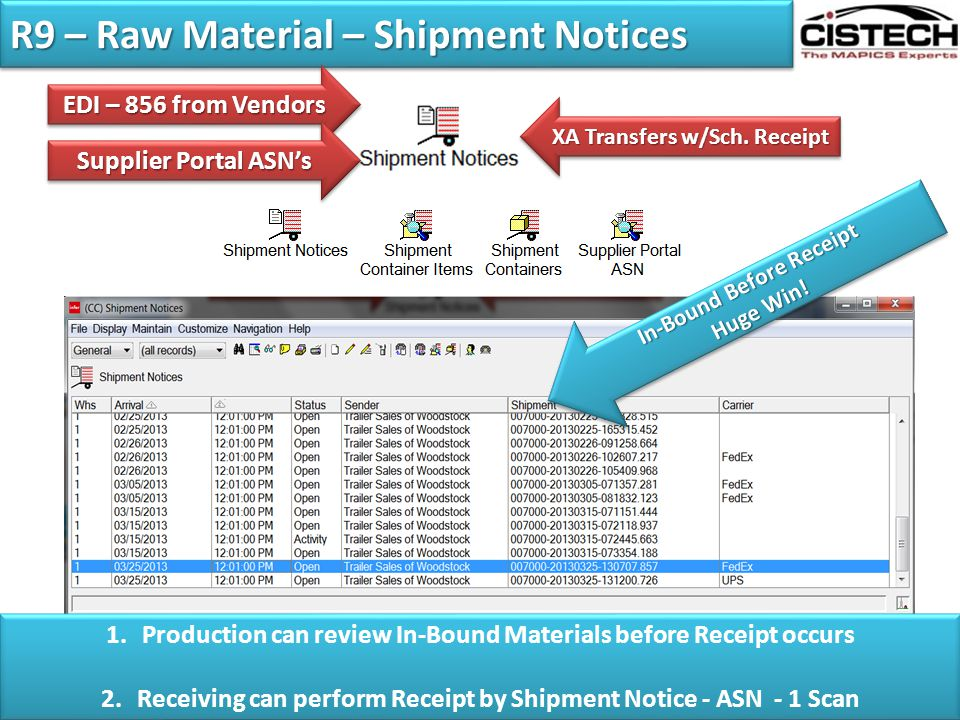 R9 – Raw Material – Shipment Notices