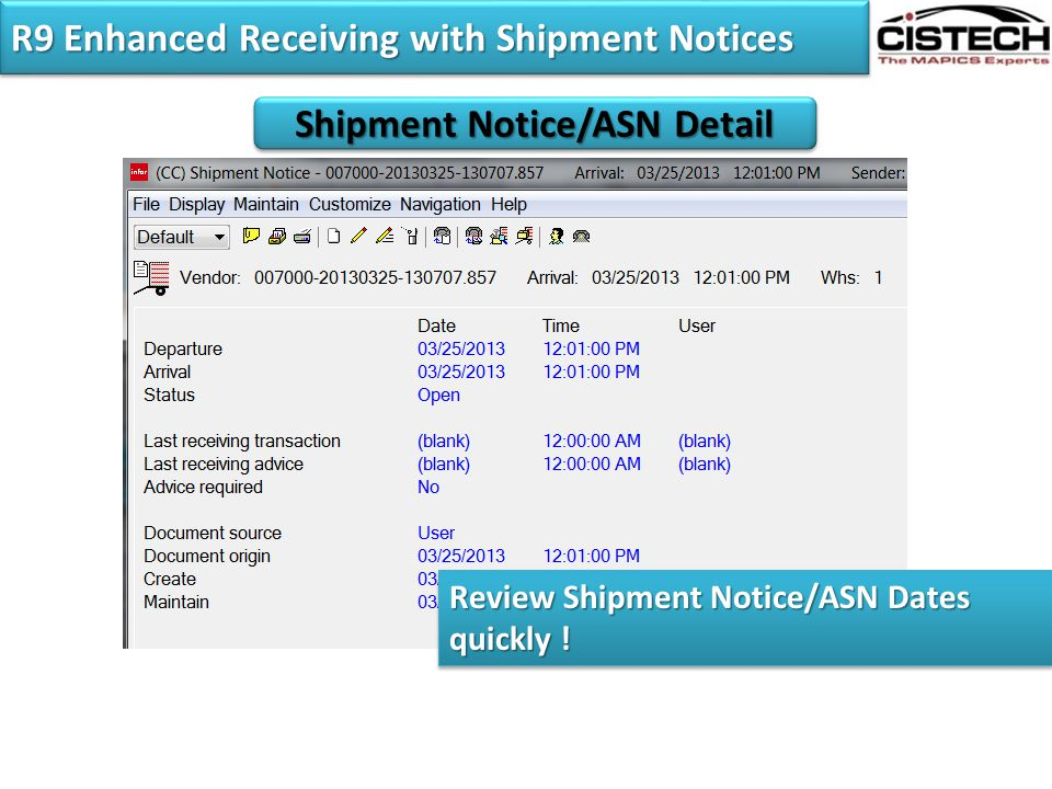 R9 Enhanced Receiving with Shipment Notices
