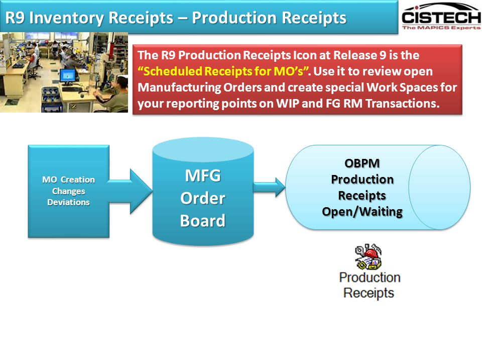 R9 Inventory Receipts – Production Receipts