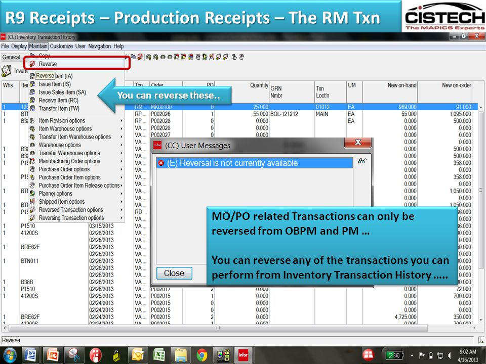 R9 Receipts – Production Receipts – The RM Txn