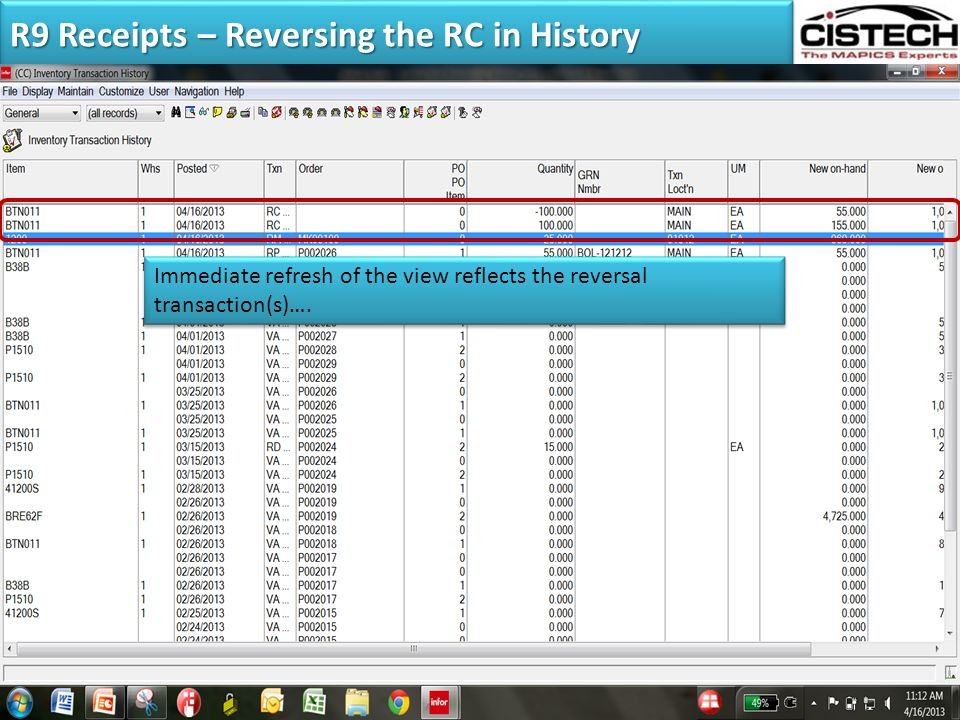 R9 Receipts – Reversing the RC in History