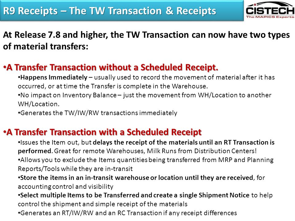 R9 Receipts – The TW Transaction & Receipts