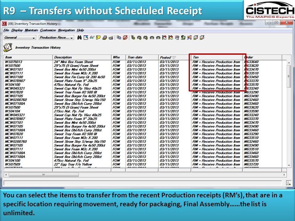 R9 – Transfers without Scheduled Receipt